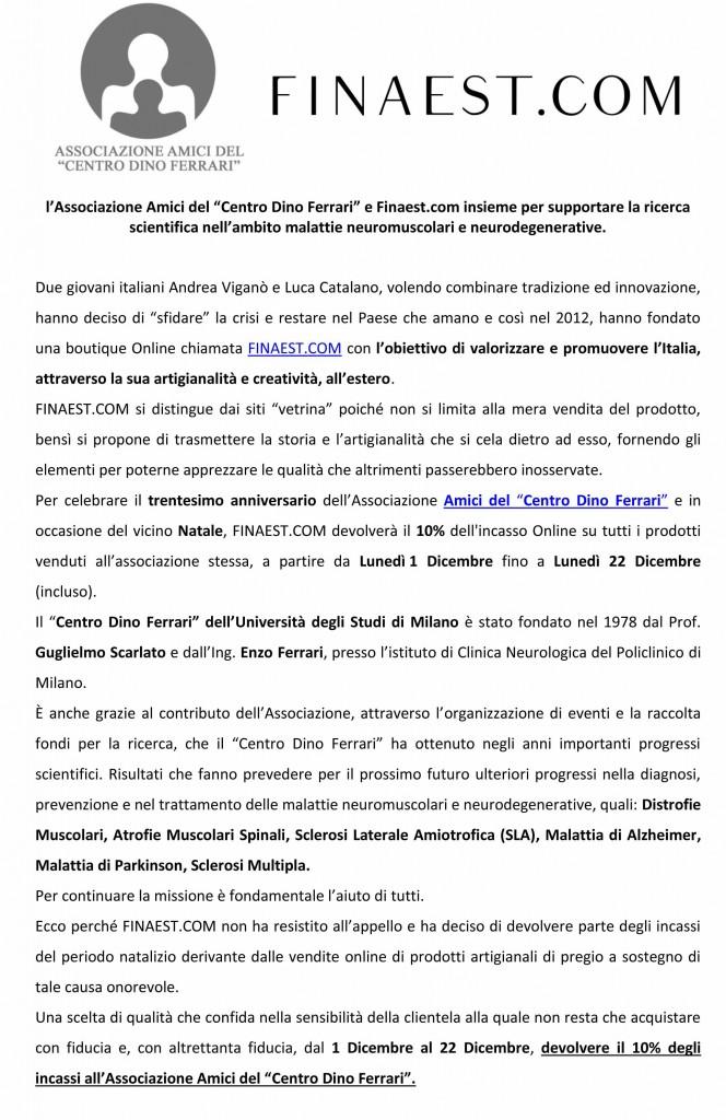 Comunicato Stampa Amici Centro Dino Ferrari - Finaest com IT